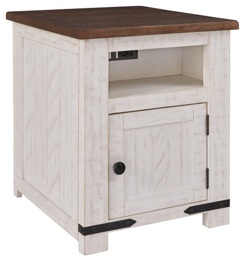Wystfield White/Brown Rectangular End Table