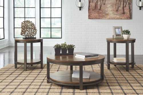 Roybeck Light Brown/Bronze Occasional Table Set (3/CN)