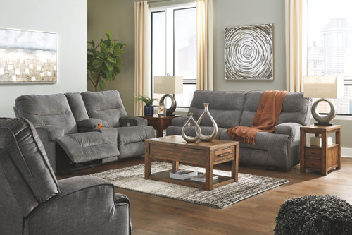 Coombs Charcoal 2 Seat Reclining Power Sofa, Double Reclining Power Loveseat with Console & Wide Seat Power Recliner
