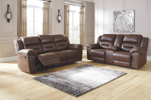 Stoneland Chocolate Reclining Sofa & Double Reclining Loveseat with Console