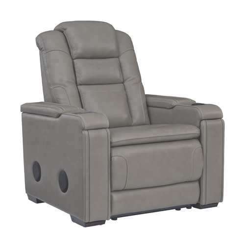 Boerna Gray Power Recliner/ADJ Headrest