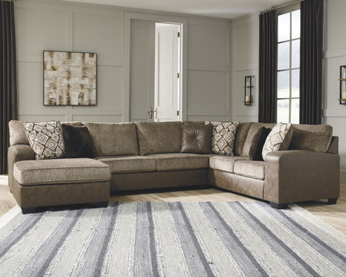 Abalone Chocolate LAF Corner Chaise, Armless Loveseat & RAF Sofa Sectional