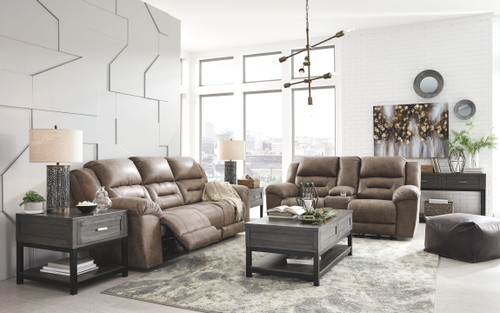 Stoneland Fossil Reclining Power Sofa & Double Reclining Power Loveseat with Console