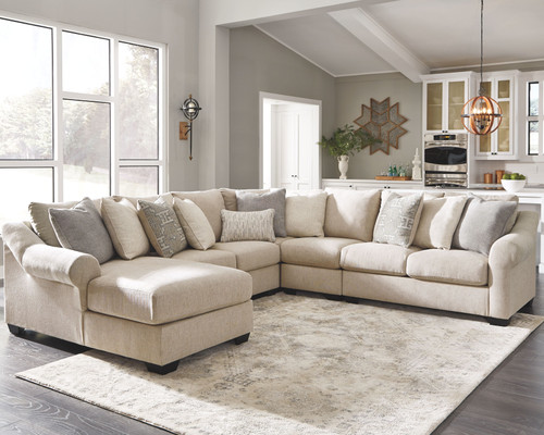 Carnaby Linen LAF Corner Chaise, Armless Loveseat, Wedge, Armless Chair & RAF Loveseat Sectional