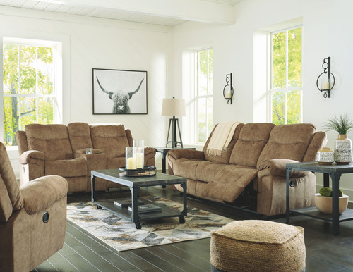 Huddle-Up Nutmeg Reclining Sofa with Drop Down Table, Double Reclining Loveseat with Console & Rocker Recliner