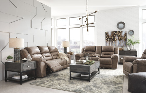 Stoneland Fossil Reclining Power Sofa, Double Reclining Power Loveseat with Console & Power Rocker Recliner