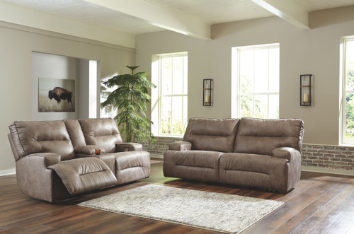 Hazenburg Fossil 2 Seat Reclining Power Sofa & Double Reclining Power Loveseat with Console
