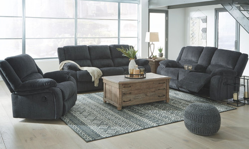 Draycoll Slate Reclining Sofa, Double Reclining Loveseat with Console & Rocker Recliner