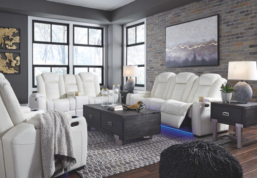 Party Time White 3 Pc. Power Reclining Sofa with Adjustable Headrest, Power Reclining Loveseat with Console/Adjustable Headrest, Power Recliner with Adjustable Headrest
