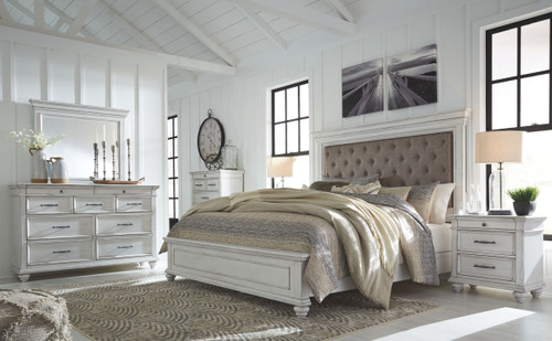 Kanwyn Whitewash 8 Pc. Dresser, Mirror, Chest, Queen Panel Upholstered Bed & 2 Nightstands