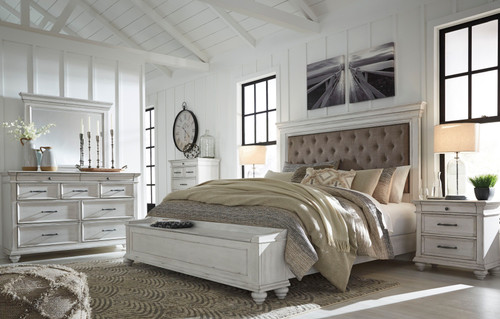 Kanwyn Whitewash 8 Pc. Dresser, Mirror, Chest, Queen Upholstered Storage Bed & 2 Nightstands