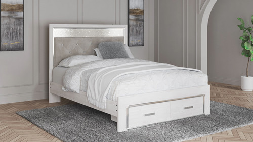 Altyra White Queen Panel Bed with Footboard Storage