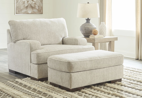 Alesandra Parchment 2 Pc. Chair and a Half, Ottoman