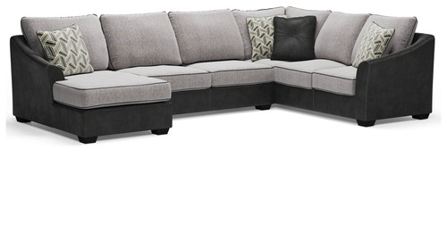 Bilgray Pewter Left Arm Facing Corner Chaise, Armless Loveseat, Right Arm Facing Sofa with Corner Wedge Sectional