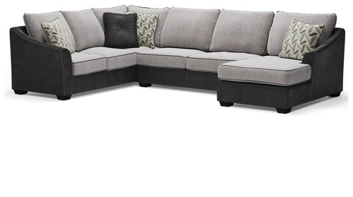 Bilgray Pewter Left Arm Facing Sofa with Corner Wedge, Armless Loveseat, Right Arm Facing Corner Chaise Sectional