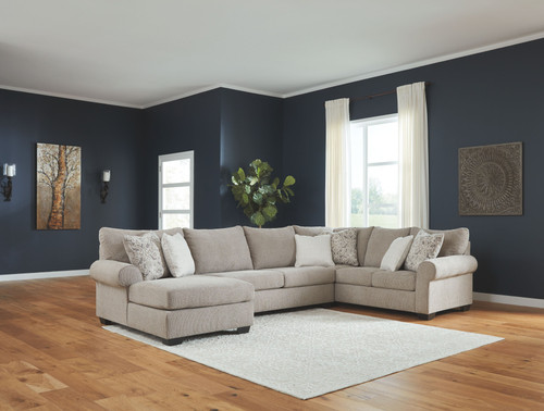 Baranello Stone LAF Corner Chaise, Armless Loveseat & RAF Sofa with Corner Wedge Sectional