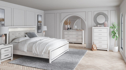 Altyra White 8 Pc. Dresser, Mirror, Chest, King Panel Bed, 2 Nightstands