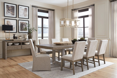Langford Light Grayish Brown 10 Pc. Rectangular Dining Room Extension Table, 6 Side Chairs, 2 Upholstered Side Chairs, Server