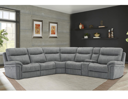 Mason 6 Piece Sectional (3 Reclining Seats) in Carbon