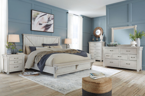 Brashland White 5 Pc. Dresser, Mirror, California King Panel Bed with Bench Footboard