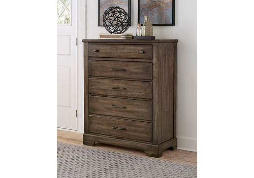 Cool Rustic Mink 5 Drawer Chest