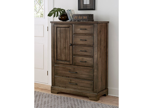 Cool Rustic Mink 6 Drawer Standing Chest