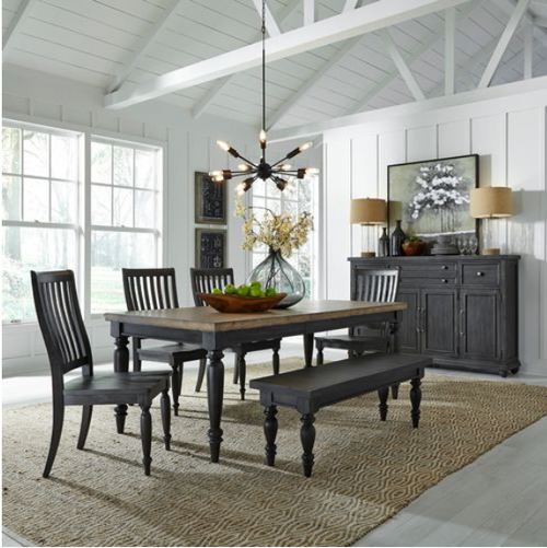 Harvest Home Dining Set - 4 Chairs & Bench