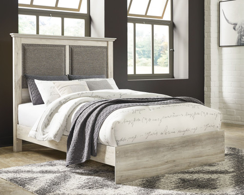 Cambeck Whitewash Queen Upholstered Panel Bed