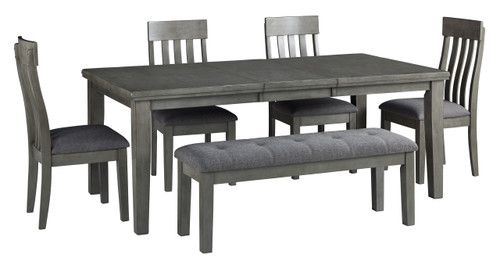 Hallanden Gray 6 Pc. Rectangular Butterfly Extension Table, 4 Side Chairs, Dining Room Bench