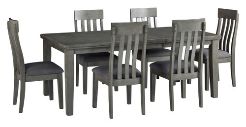 Hallanden Gray 7 Pc. Rectangular Butterfly Extension Table, 6 Side Chairs