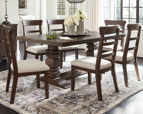 Hillcott Dark Brown 8 Pc. Rectangular Dining Room Extension Table, 6 Upholstered Side Chairs