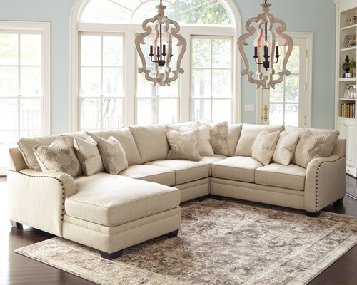 Luxora Bisque Left Arm Facing Corner Chaise, Armless Loveseat, Wedge, Right Arm Facing Loveseat Sectional