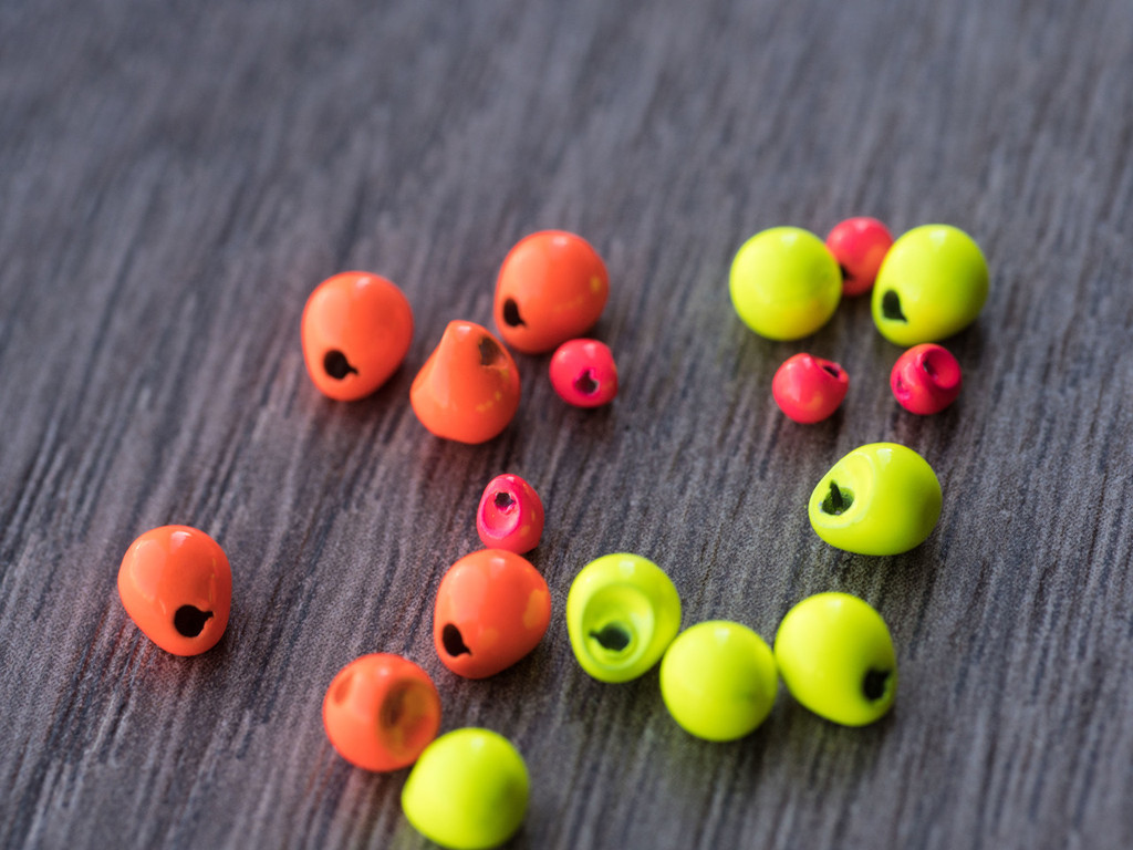 Inverting Tungsten Beads Fluorescent Colors (Orange, Chartreuse, Pink)