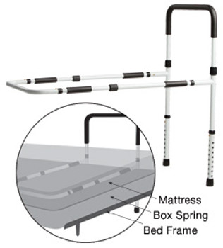 Adjustable Bed Rail with Floor Support
