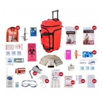 4 Person Deluxe Survival Kit RED Wheel Bag