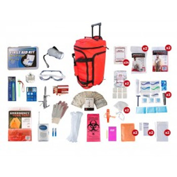 2 Person Elite Survival Kit (72+ HOURS) RED Wheel Bag
