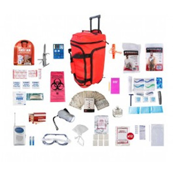 1 Person Deluxe Survival Kit (72+ HOURS) RED Wheel Bag