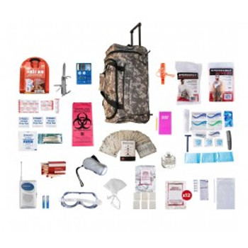 1 Person Deluxe Survival Kit (72+ HOURS) CAMO Wheel Bag