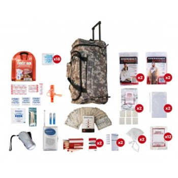 2 Person Survival Kit (72+ HOURS) CAMO Wheel Bag