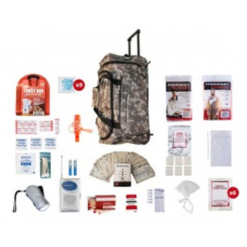 1 Person Survival Kit (72+ HOURS)-CAMO WHEEL BAG