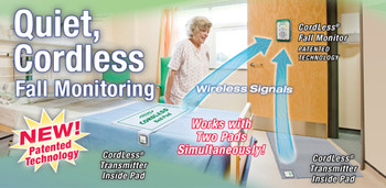 Cordless monitor Alarm works with two components Bed pads, chair pads and floor mats   a 2  component system