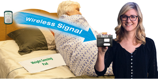 Fall Prevention Alert 5x30 Bed Pad to Wireless Pager