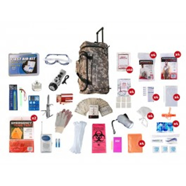 4 Person Elite Survival Kit (72+ HOURS) CAMO Wheel Bag