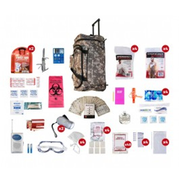 4 Person Deluxe Survival Kit CAMO Wheel Bag