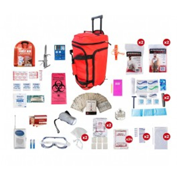2 Person Deluxe Survival Kit (72+ HOURS) RED Wheel Bag