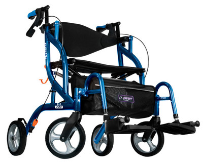 AIRGO FUSION F23 SIDEFOLDING ROLLATOR AND TRANSPORT CHAIR BLUE