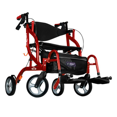 AIRGO FUSION F20 SIDEFOLDING ROLLATOR AND TRANSPORT CHAIR CRANBERRY