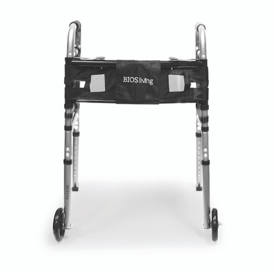 DELUXE FOLDING WALKER WITH WHEELS AND STORAGE