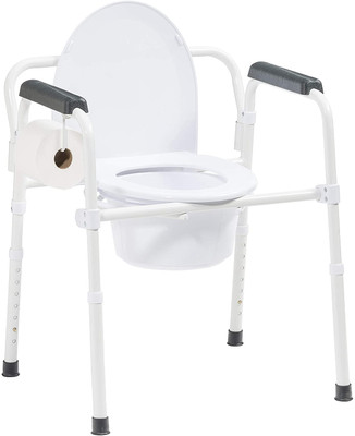 FOLDING BEDSIDE COMMODE WITH TOILET PAPER HOLDER AND COMMODE LINER