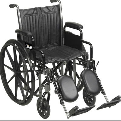 """DRIVE 16"""" SILVER SPORT 2 SILVER VEIN FIXED ARM SWING AWAY ELEVATING LEGRESTS"""